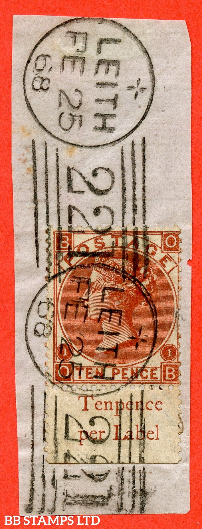 "SG. 114. J97 (3).  "" OB "". 10d Deep Red Brown. A superb "" 25th February 1868 LEITH "" CDS used bottom marginal inscriptional example tied to small piece."