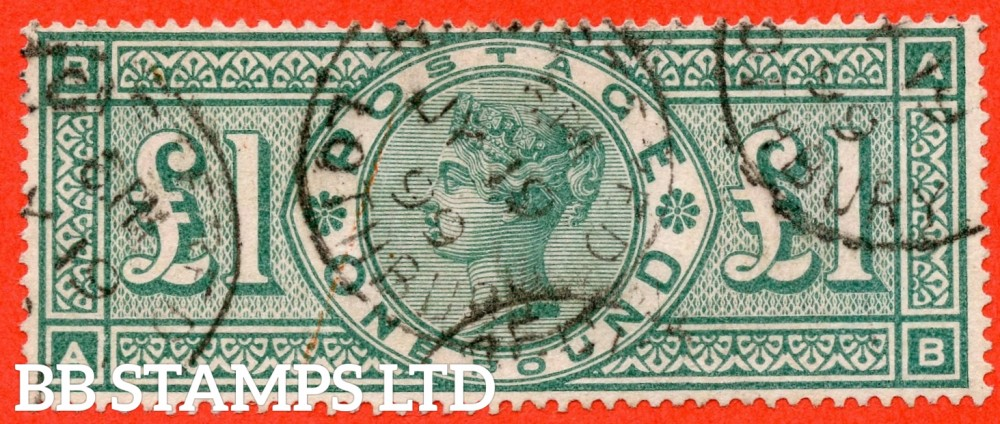 "SG. 212. K17. £1.00 Green "" AB "". A fine "" July 19th 1899 LOTHBURY "" CDS used example of this classic Victorian high value"