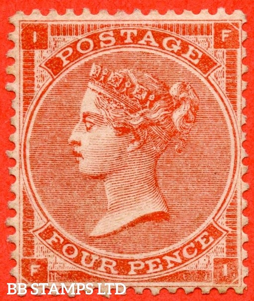 """SG. 81. J53 (1). """" FI """". 4d bright red ( hairlines ). A superb UNMOUNTED MINT example of this scarce Victorian issue."""