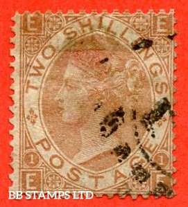 """SG. 121. J120. """" EE """". 2/- Brown. An average used ( re-perfed ) example of this scarce Victorian issue. Minor faults but a great looking spacefiller."""