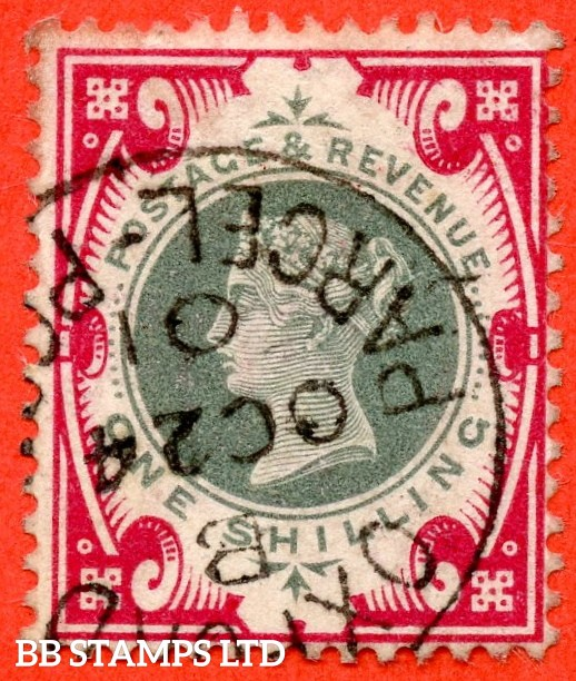 "SG. 214.  K41. 1/- Green & Carmine. A very fine "" 24th October 1901 OXFORD PARCEL POST "" CDS used example."