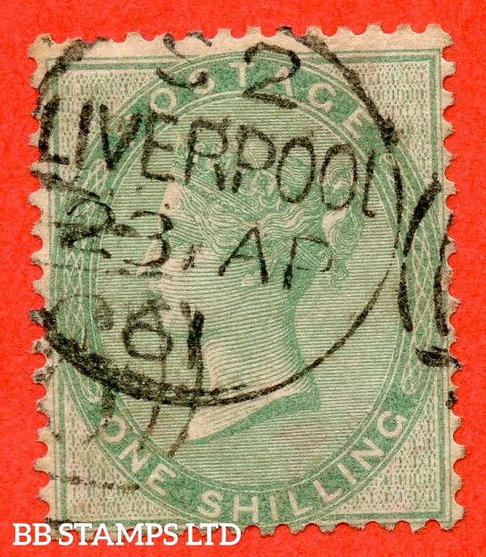 """SG. 73b. J100 (3) c. 1/- Pale Green. THICK PAPER. A very fine """" 23rd April 1861 LIVERPOOL """" CDS used example."""