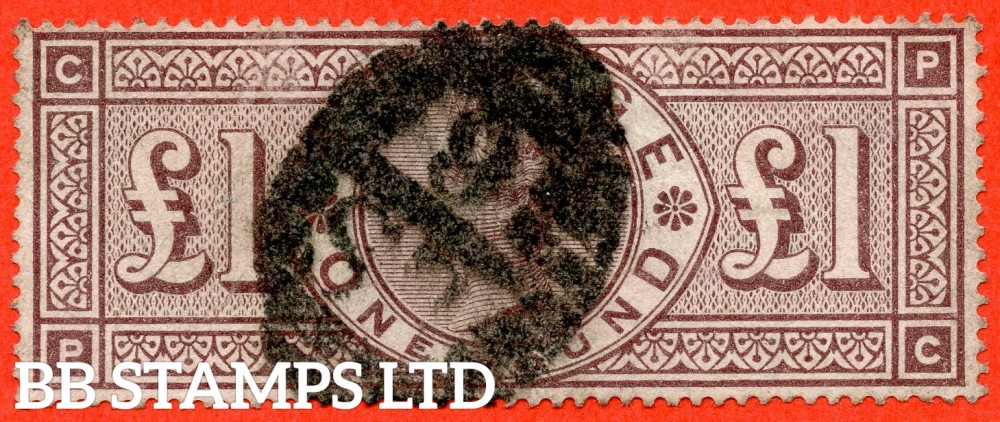 """SG. 186. K16. """" PC """". £1.00 Brown - Lilac. A good used example of this RARE Victorian high value."""