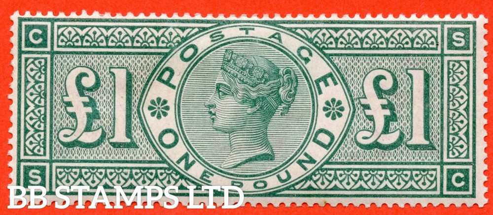 """SG. 212. K17. £1.00 Green """" SC """". A fine mounted mint example of this popular stamp."""