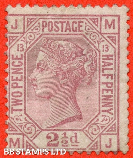 """SG. 141. J14. """" MJ """". 2½d rosy mauve. Plate 13. A fine mounted mint example."""