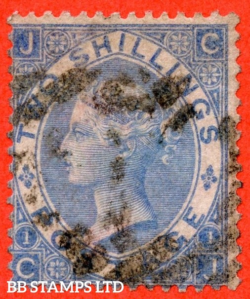 "SG. 120 a. J118 (4). "" CJ "". 2/- Cobalt. A good used example of this RARE Victorian shade variety."