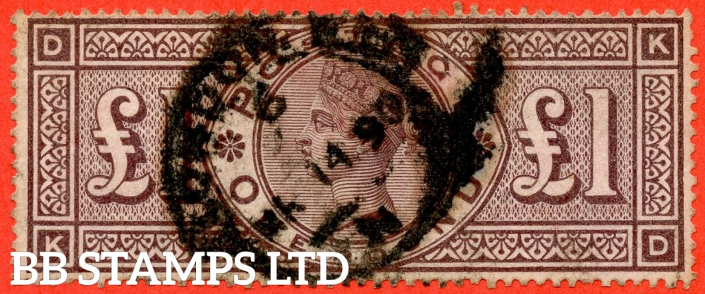 "SG. 185. K15. "" KD "". £1.00 Brown - Lilac. A good "" March 14th 1890 LONDON "" CDS used example of this RARE Victorian high value."