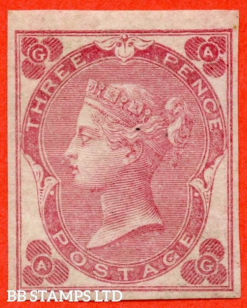 "SG. 78a. J27 b. "" AG "". 3d Rose ( with white dots, plate 3 ). ABNORMAL. A very fine IMPERF mint example of this VERY RARE stamp."