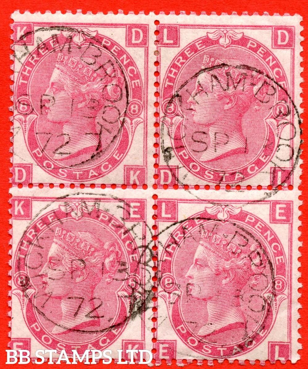 """SG. 103. J33. """" DK DL EK EL  """" 3d Rose plate 8. A super """" 13th September 1872 WICKHAM BROOK """" CDS used block of 4."""