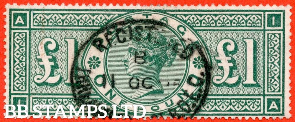 "SG. 212. K17. £1.00 Green "" IA "". A fine "" October 11th "" used example."