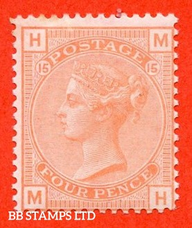 "SG. 152. J62. "" MH "". 4d vermilion plate 15. A fine UNMOUNTED MINT example."