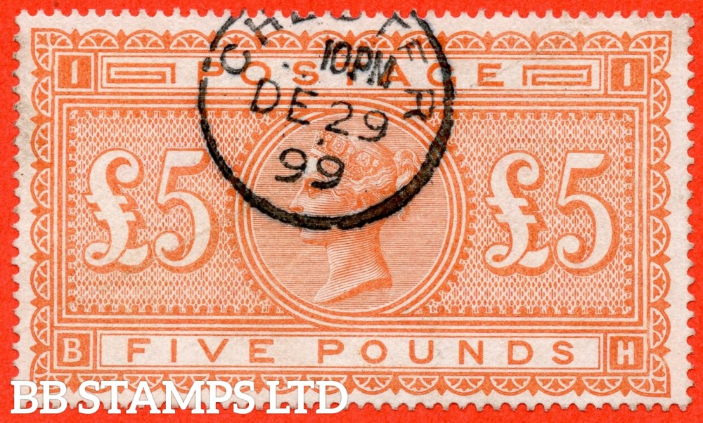 """SG. 137. J128a. """" BH """". £5.00 Orange. A very fine used example cancelled by a fine """" December 29th 1899 CHESTER """" part CDS."""
