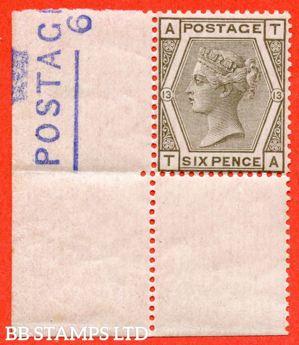 """SG. 147. J83. """" TA """" 6d Grey plate 13. A superb UNMOUNTED MINT ( mounted in the margin only ) bottom left hand corner marginal example. Complete with RPS certificate. RARE in this grade."""