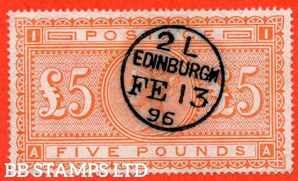 "SG. 137. J128a. "" AA "". £5.00 Orange. A very fine "" February 13th 1896 EDINBURGH "" CDS used example."