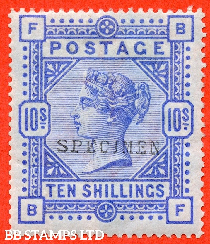 "SG. 177a s. K13 (2) t. "" BF "". 10/- Cobalt ( blued paper ). A very fine mounted mint example overprinted SPECIMEN type 9."