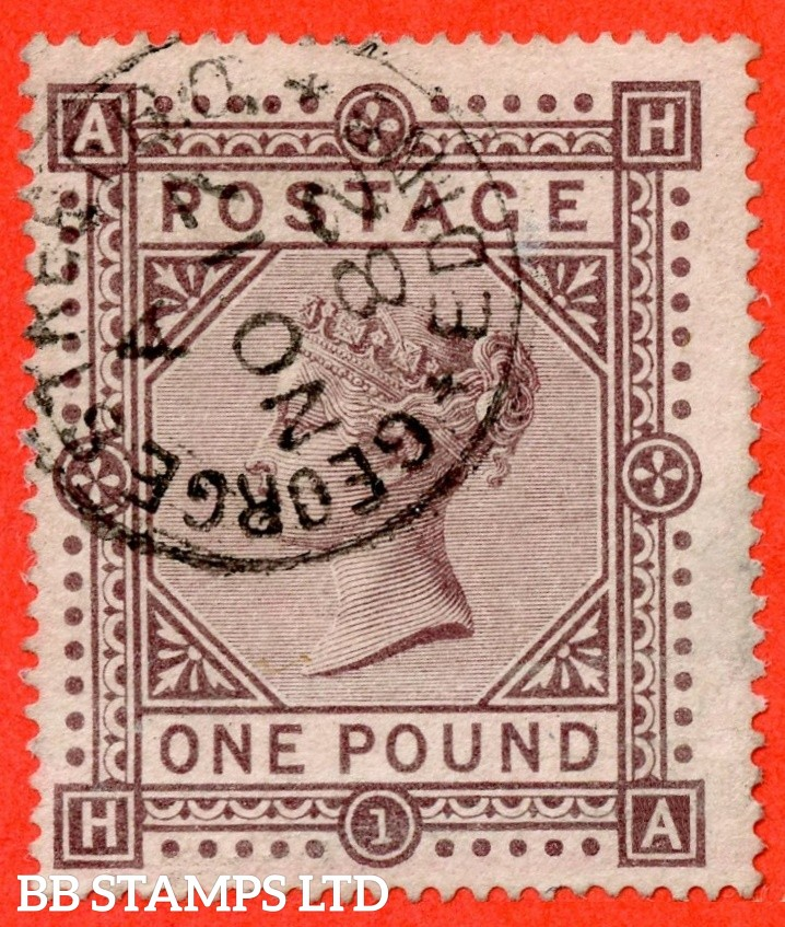 """SG. 129. J126. """" HA """". £1.00 Brown - lilac. Plate 1. A very fine """" 17th November 1882 GEORGE STREET """" CDS used example."""