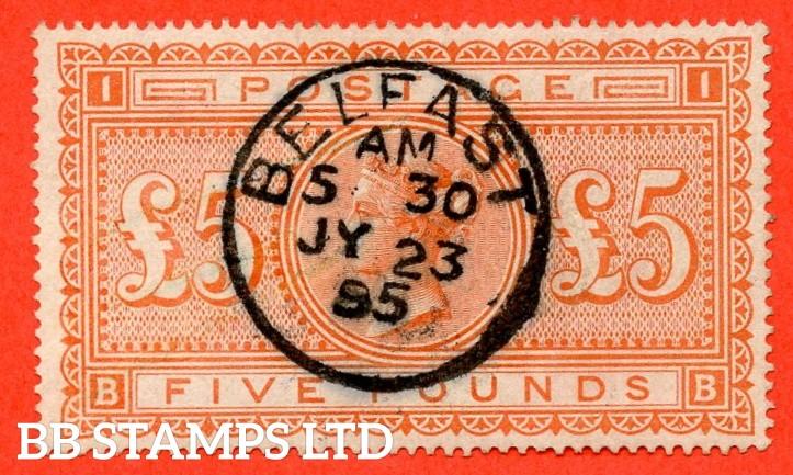 "SG. 137. J128a. "" BB "". £5.00 Orange. A fine "" 23rd July 1895 BELFAST "" CDS used example."