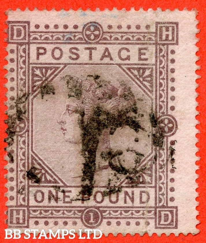 """SG. 129. J126. """" HD """". £1.00 Brown - lilac. Plate 1. A good used example."""