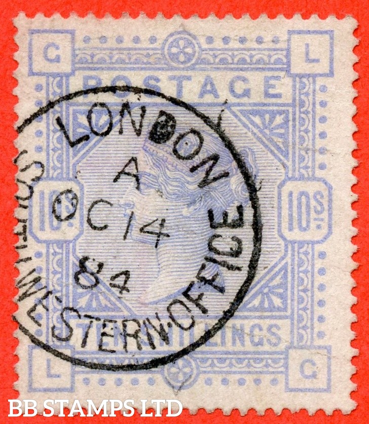 "SG. 182. K14 (1). "" LG "". 10/- Cobalt. A very fine "" 14th October 1884 LONDON "" CDS used example. Plae colour but a good spacefiller."