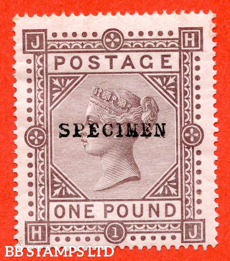 """SG. 129s. J126 t. """" HJ """". £1.00 Brown - Lilac. Plate 1. A very fine lightly mounted mint example overprinted SPECIMEN type 9."""