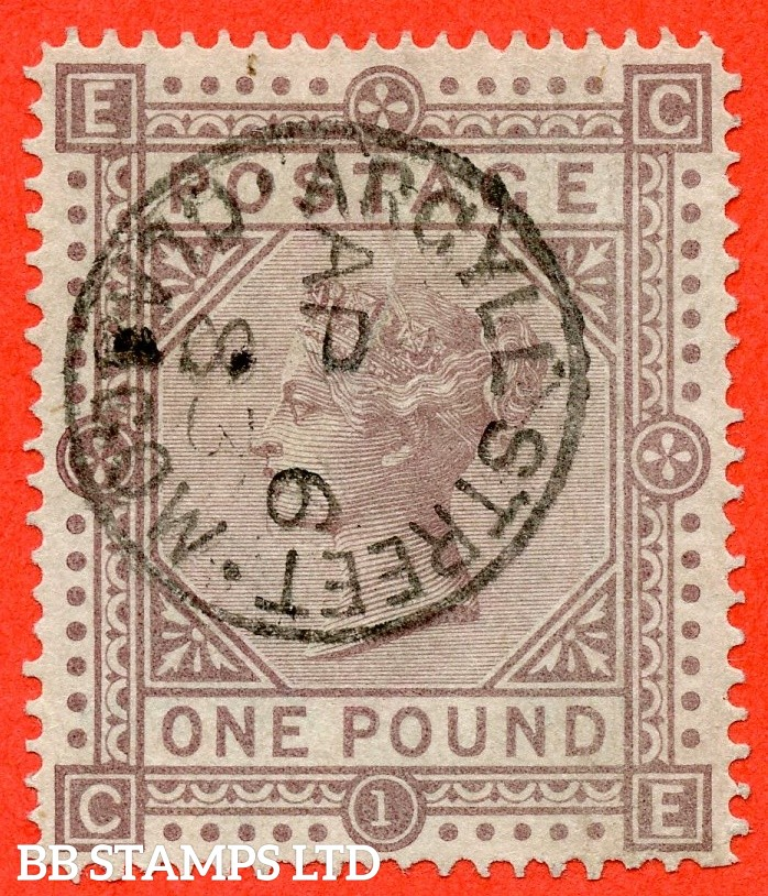 """SG. 136. J127 a. """" CE """". £1.00 Brown - lilac. A very fine """" 6th April 1883 ARGYLL STREET """" CDS used example of this scarce early Victorian high value. Faults but a great spacefiller."""