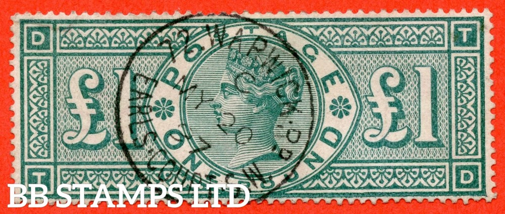 "SG. 212. K17. £1.00 Green "" TD "". A very fine "" May 20th 1897 72 WARWICK RD EARLS COURT "" CDS used example."
