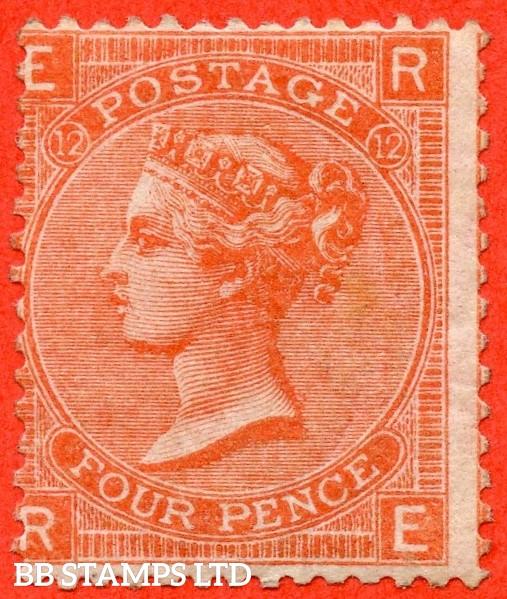 "SG. 95. J59. "" RE "". 4d Deep Vermilion. Plate 12. A fine mounted mint example."