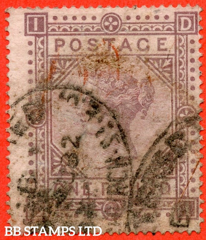 "SG. 129. J126. "" DI "". £1.00 Brown - lilac. Plate 1. A good used example."