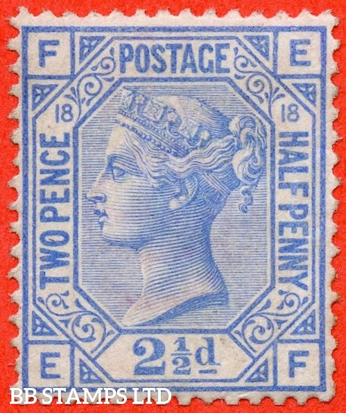 """SG. 142. J20. """" EF """". 2½d blue. Plate 18. A super UNMOUNTED MINT example."""
