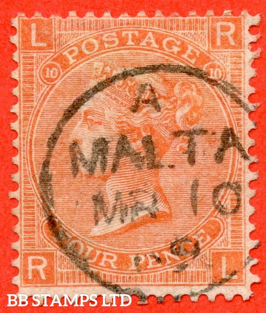 "SG. 94. J57. "" RL "". 4d Vermilion. Plate 10. A very fine "" 10th March 1869 MALTA "" CDS used example."