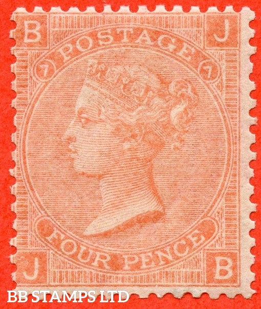 """SG. 93. J54. """" JB """". 4d Dull Vermilion. Plate 7. A very fine UNMOUNTED MINT example."""