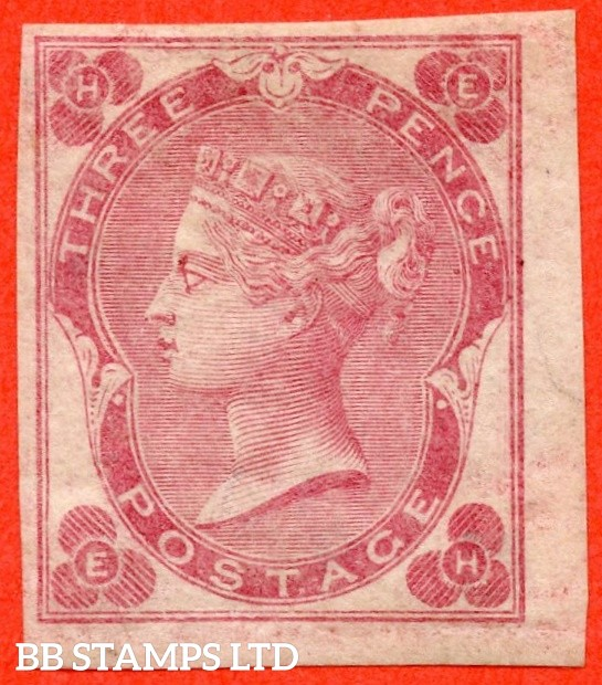 "SG. 78 a. J27 b. "" EH "". 3d Rose ( with white dots, plate 3 ). ABNORMAL. A very fine IMPERF mint example of this VERY RARE stamp. This being the second example we have handled in 31 years."