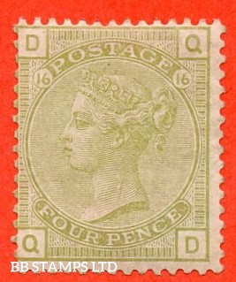 "SG. 153. J65. "" QD "". 4d Sage - Green. Plate 16. A very fine UNMOUNTED MINT example."