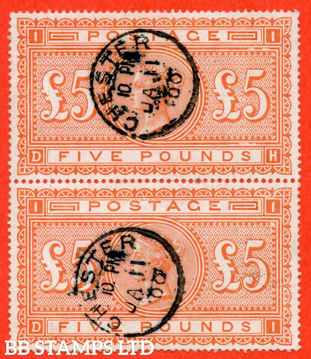 """SG. 137. J128a. """" DH DI """". £5.00 Orange. A very fine """" 11th January 1900 CHESTER """" CDS used vertical pair. A very scarce multiple these days."""