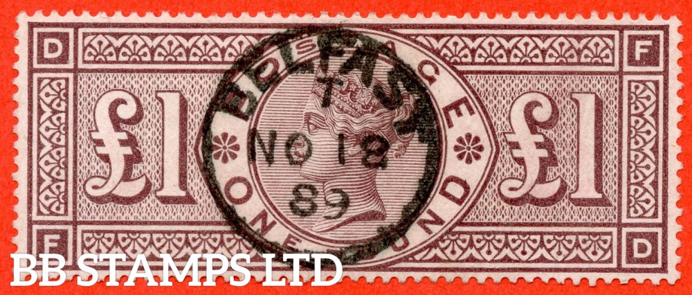 """SG. 186. K16. """" FD """". £1.00 Brown - Lilac. A SUPERB upright """" November 18th 1889 BELFAST """" CDS used example of this RARE Victorian high value."""