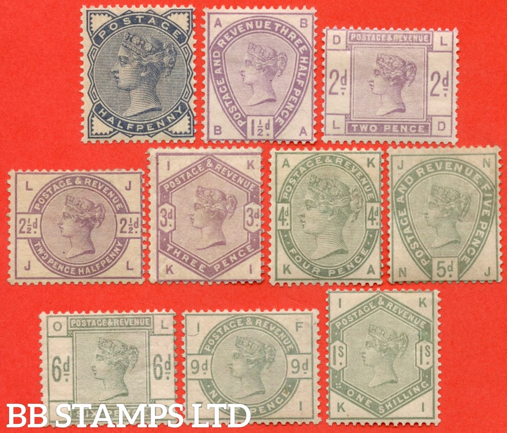 """SG. 187 - 196. K17A - K26. ½d - 1/-. """" Lilac and Green. A fine mounted mint complete set of 10. A difficult set these days."""