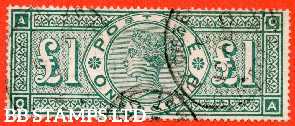 "SG. 212. K17. £1.00 Green "" QA "". A fine "" August 10th GRACECHURCH ST REGISTERED "" CDS used example of this classic Victorian high value"
