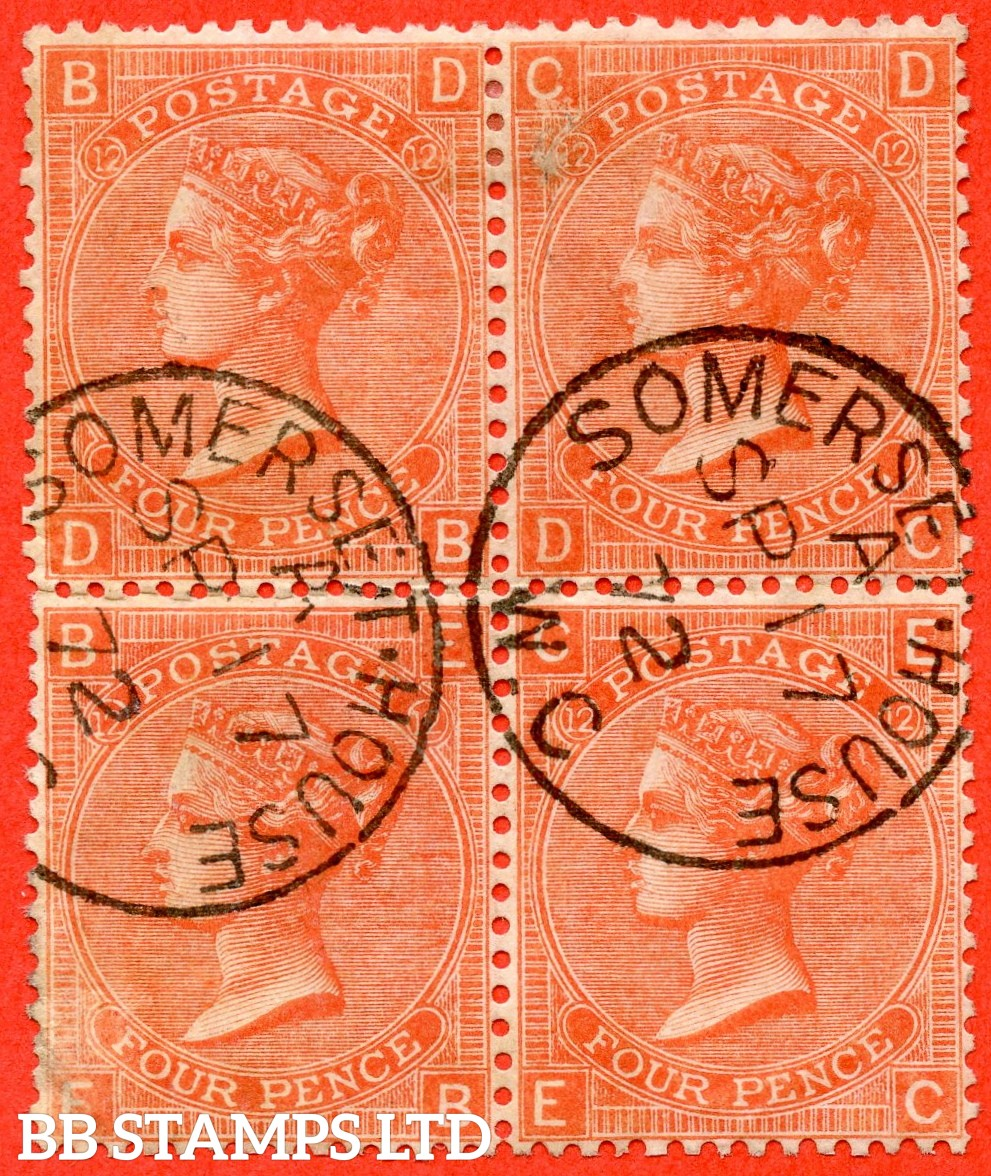"""SG. 95. J59. """" DB DC EB EC """". 4d Deep Vermilion. Plate 12. A superb """" 17th September 1872 SOMERSET HOUSE """" CDS used block of 4. Small fault below ' C ' on ' CD ' but a super looking block."""