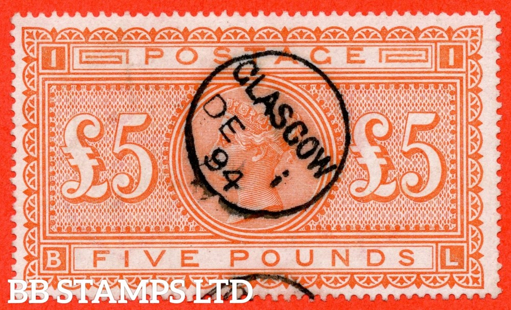 "SG. 137. J128a. "" BL "". £5.00 Orange. A fine used example cancelled by a fine "" December 1st 1894 GLASGOW "" CDS."