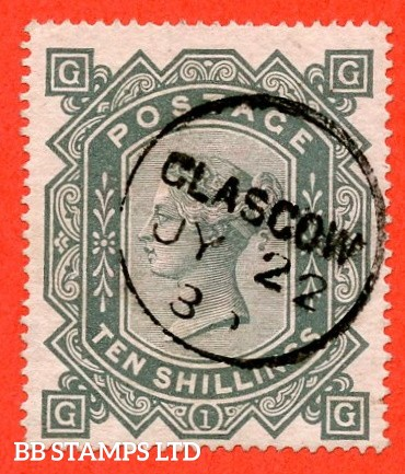 "SG. 128. J124. "" GG "". 10/- greenish grey. A very fine "" 22nd July GLASGOW "" CDS used example."