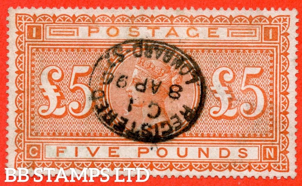 "SG. 137. J128a. "" CN "". £5.00 Orange. A fine "" 8th April 1896 LOMBARD STREET "" used example."