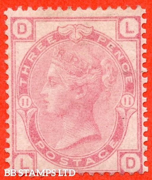 """SG. 144. J36. """" LD """". 3d pale rose plate 11. An average ( re-perfed ) mint example."""