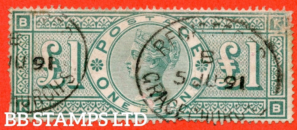 """SG. 212. K17. £1.00 Green """" KB """". A nice """" July 5th 1891 GRACECHURCH ST """" CDS example of this classic Victorian high value with faults."""