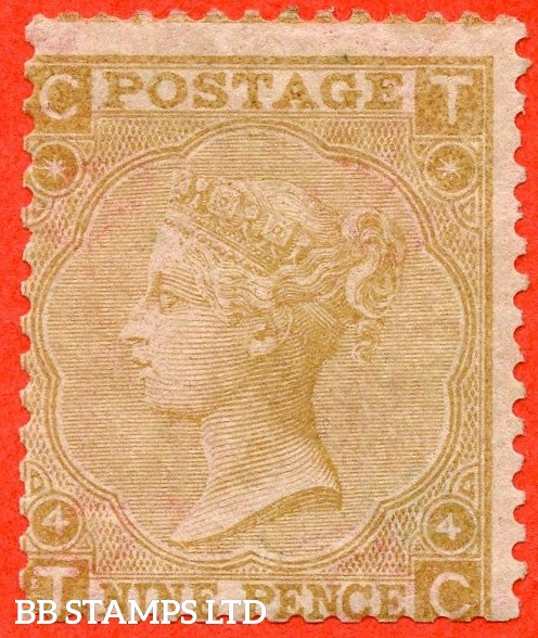 """SG. 98. J94. """" TC """". 9d straw plate 4. A decent average mint example of this scarce Victorian issue."""