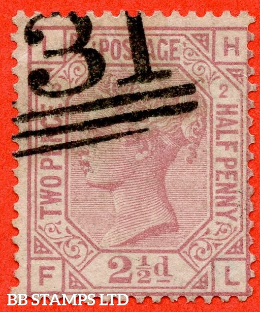 "SG. 140. J2 b. "" LH -- FL "". 2½d rosy mauve. Plate 2. "" ERROR OF LETTERING "". A very fine used example of this RARE Victorian variety."