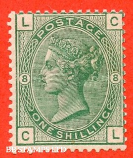 "SG. 148. J108. "" CL"". 1/- deep green. Plate 8. A superb UNMOUNTED MINT example."