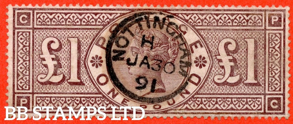 "SG. 185. K15. "" PC "". £1.00 Brown - Lilac. A very fine "" January 30th 1891 NOTTINGHAM "" CDS used example of this RARE Victorian high value."