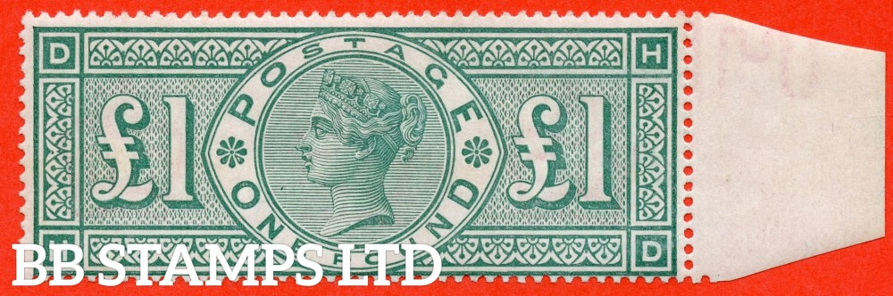 """SG. 212. K17. £1.00 Green """" HD """". A Super UNMOUNTED MINT right marginal example of this popular stamp."""