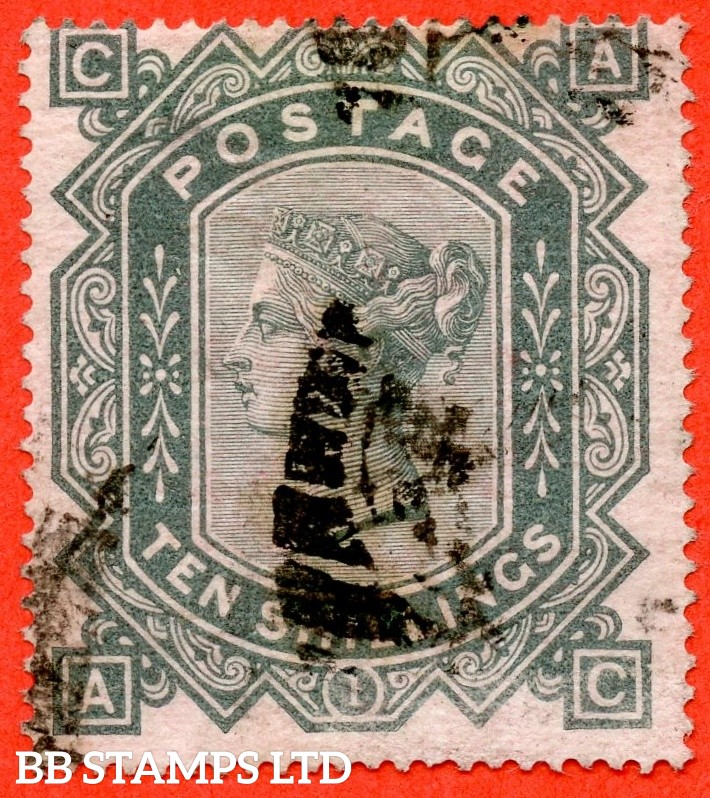 "SG. 128. J124. "" AC "". 10/- Greenish grey. A good used example of this popular early Victorian high value."