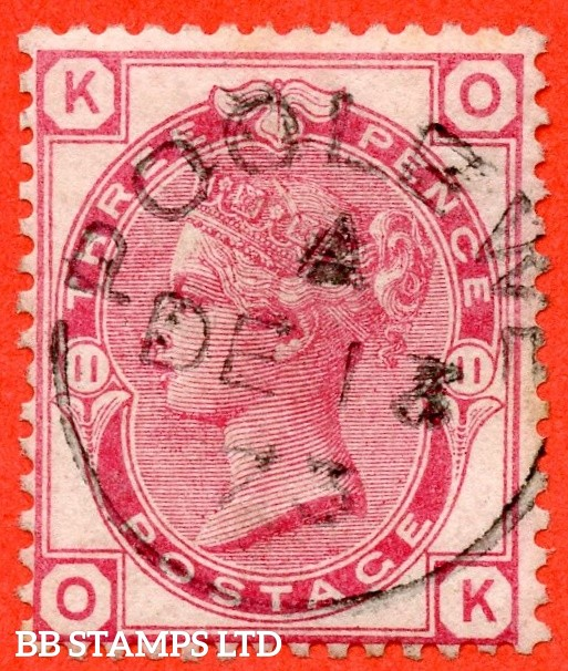 """SG. 143. J36. """" OK """". 3d rose plate 11. A SUPERB """" 13th December 1873 POOLEWE """" CDS used example complete with RPS certificate."""